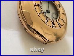 Antique Gold Plate Small Half Hunter Dennison Case Waltham Pocket Watch