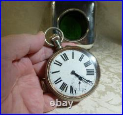 Antique Goliath Pocket Watch 1907 Sterling Silver Travel Case Moroccan Leather