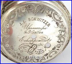 Antique Huge Goliath Like. 800 Silver J J Schwitzer Farm Theme Pocketwatch Case