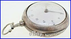 Antique Jamie Warren Canterbury Verge Fusee Pocket Watch + Sterling Pair Case