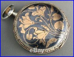 Antique LONGINES Floral Rose Gold & Silver Pocket Watch Unique Art Nouveau Case