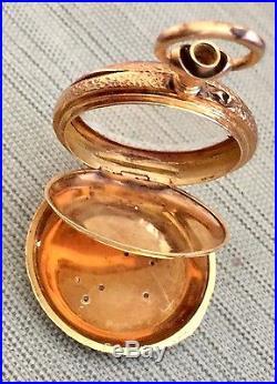 Antique Ladies Pendant Pocket Watch 14K Yellow Gold Diamonds Enamel Case Swiss