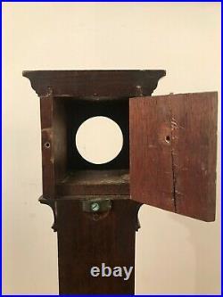 Antique Mahogany Miniature Longcase Pocket Watch Display Case Stand
