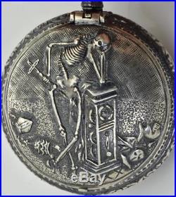 Antique Memento Mori verge fusee watch. Grim Reaper Skeleton Skull silver case