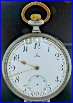 Antique Omega 15J Manual Wind Pocket Watch Runs for Repair + Gun Metal Case