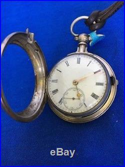 Antique Open Face Pocket Watch Unusual Case Silver Heavy Verge Fusee