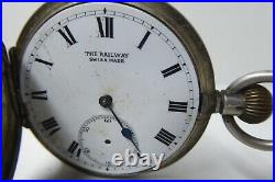 Antique Pocket Fob Watch The Railway Swiss Made Sterling Silver Case