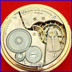 Antique Pocket Watch Gold Fill Elgin Pocket Watch Ornate Case 1921 Serviced
