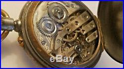 Antique Pocket Watch Swiss Moon Phase Day-Month-Year Dials - Gunmetal Case