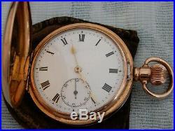 Antique RG Hunter Moeris Pocket Watch, v. Nice Gold Filled Dennison Moon case