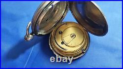 Antique ROTHERHAMS Key Wind Pocket Watch Sterling Silver Case