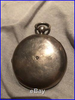 Antique Rothethams Silver Cases Key Wind Pocket Watch 1800s Good Balance Staff