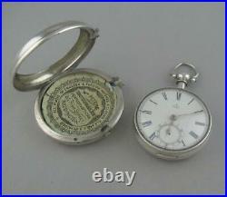 Antique Silver Scottish Fusee Chain Pair Cased Pocket Watch Wm Kinnach Dunbar