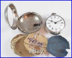 Antique Silver Verge Fusee Pair Cased Pocket Watch J. Johnson, Halesworth c. 1771