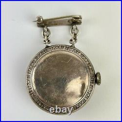 Antique Sterling Silver Cased Nurses Ladies Fop Watch Brooch Mounted Blue Enamel