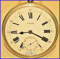 Antique Sterling Silver Gorham Travel Case Swiss 8 Day Railroad Pocket Watch