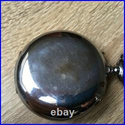 Antique Swiss pocket watch chronograph 1910h chromed case enamel dial