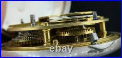 Antique Unbranded Verge Fusee Pocket Watch + Sterling Pair Case for Repair
