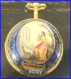 Antique Verge Fusee Enameled Case Pocket Watch