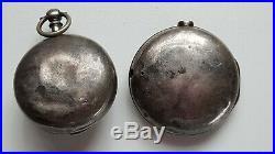 Antique Verge Fusee English Hallmarked Silver Pair Cased Pocket Watch N Giles