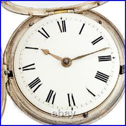 Antique Verge Fusee Keywind Pocket Watch Ca1850s Sterling Silver Hunter Case