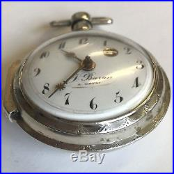 Antique Verge Solid Silver Consular Case J Baron A Longni Pocket Watch Working