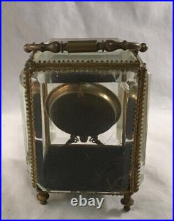 Antique Victorian Beveled Glass Ormolu Pocket Watch Case Holder Safe Casket