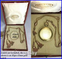 Antique Victorian Pocket Watch Chain & Tassels in Superb Watch Case, Box