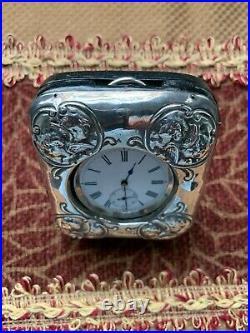 Antique Victorian Sterling Silver Pocket Watch Holder / Case + Pocket Watch