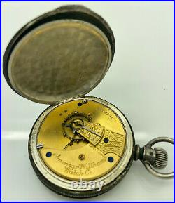 Antique WALTHAM 1883 Pocket Watch Coin Silver Full Hunting Case Fahys Monarch