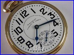 Antique original Waltham Vanguard 23j Rail Road pocket watch 1943. Amazing case