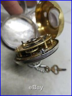 Antique silver pair cased fusee verge Th. WHITT London pocket watch c1820 ref801