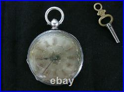 Antique small silver open face pocket watch with key & case working