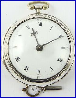 Antique verge pair case silver pocket watch Edward Hemmen, London, circa 1791