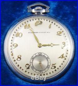Audemars Piguet & Co. Swiss Pocket Watch 19 Jewels Swiss Platinum Case Working