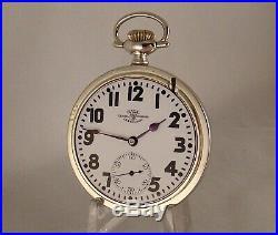 BALL 999P OFFICIAL RR STANDARD 21j LOANER CASE OPEN FACE 16s RR POCKET WATCH