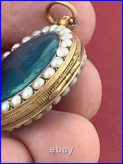 BEAUTIFUL 1800's FRENCH FUZEE KEY WIND LADIES ENAMELED WITH PEARLS GOLD CASE