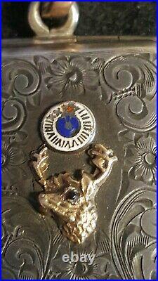 BPOE Elks lodge antique pocket watch FOB Elk tooth gf 11th hour Sterling Case