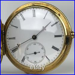 BREITLING LAEDERICH 1868 18k Gold + Diamond Hunter Case Key Wind Pocket Watch