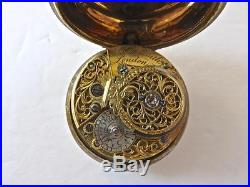 C1770 English Pear Case Verge Fusee Pocket Watch by Meredith Gilt Metal Case NoR