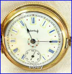 COLUMBUS POCKET WATCH 14K G. F. ENGRAVED CASE ENAMELED DIAL c. 1870