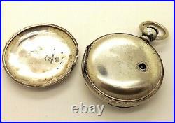 C. 1881 Sterling Silver 18s Waltham WM Ellery Key Wind Hunter Case Pocket Watch
