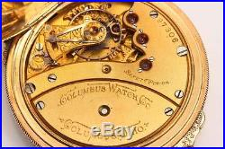 C. 1888 Box Hinge Hunting Case Columbus Pocket Watch with Detailed Buck Engraving
