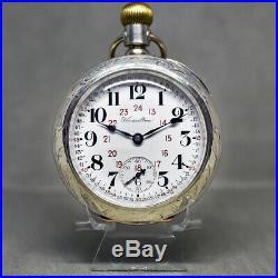 C. 1905 Hamilton 17j 18s Of Pocket Watch Mint 24hr Monty Dial #4 Coin Silver Case