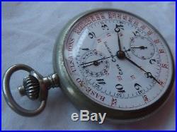Casa Escasany Chronograph pocket watch open face nickel chromiun case