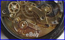 Chronograph pocket watch open face gun case enamel dial 52 mm. In diameter
