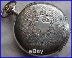 Chronograph pocket watch open face silver case enamel dial 50 mm. In diameter