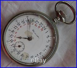 Chronometre 24 hours pocket watch open face nickel chromiun case