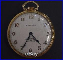 Collectible Hamilton Pocket Watch Rotating Second Digital 14 k Gold Filled Case