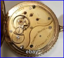 Columbus 18S. 15 jewels Mint fancy dial (1898) 14K gold filled hunter case